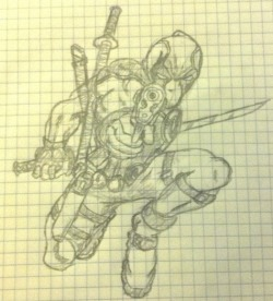 First attempt at sketching Deadpool based on this picture:
