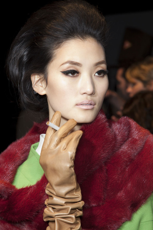tobaccochic:   Lina Zhang backstage at Dsquared2 Fall 2012