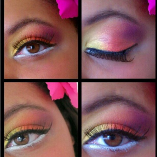 Tropical eyes #makeup #portfolio #lashes #browneyes #colors #photography #loreal (Taken with instagram)