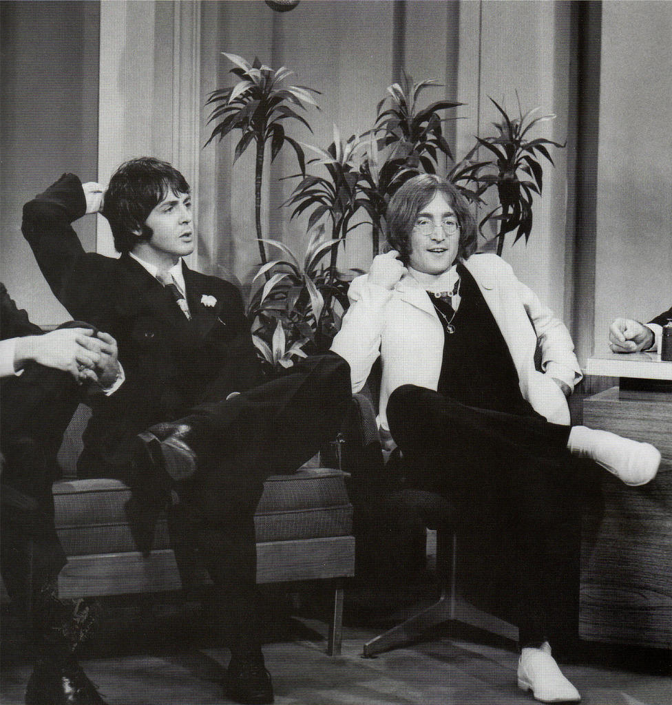 Paul and John on The Tonight Show to promote Apple 1968
