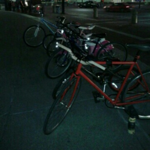 Jamisons bike was stolen tonight between 9p and 11p its the red one in the front. It's one of a kind. It has a gold outline of Indiana on the front.  (Taken with instagram)
