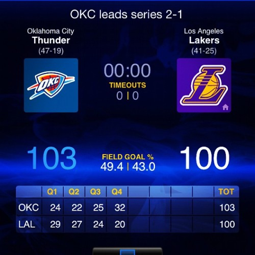 mostfamousunknown:  You mad #lakers fans? #okc #thunder #thunderup #nba (Taken with instagram)