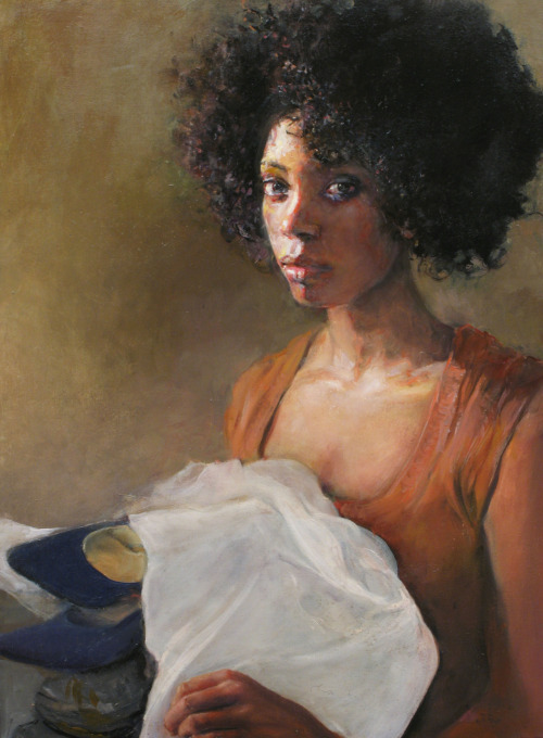 "judithpeck:  Veiled Judgement 18x24 in. Oil on linen  One in a series by Judith Peck inspired by John Rawls' concept of the ""veil of ignorance,"" which asks us to consider how we would craft social policy and distribute resources if we were unaware of our status and assets."