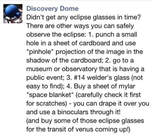 Summary of safe eclipse-viewing methods in case you don't have eclipse glasses for tomorrow!