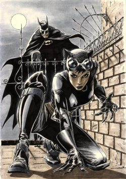 Batman & Catwoman sketch by Julian Lopez. February, 2010.