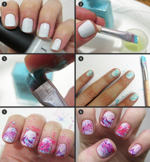 "illscarlett:  Splatter Manicure 1. Begin by painting your nails with a light-colored polish. We used OPI My Boyfriend Scales Walls. 2. Dip a slanted makeup brush or small paintbrush in a bright, saturated polish. Next, quickly dip the polish-covered brush in a bit of nail polish remover to thin it out. 3. Channel your inner preschooler and pull back on the brush to splatter polish across your nails. It's a messy process, so make sure you're working on a covered surface! 4. Continue splattering with as many polishes as you'd like (We used three bright colors). 5. Now comes clean-up. Begin by using a remover-soaked cotton ball to wipe away the splatters on your hands and fingers. After most of the splatters are cleaned up, switch to a small remover-dipped makeup brush to clean up the skin right around your nails. 6. Add a top coat and get ready to answer ""How did you do that?"" for the rest of the day. This is such a fun, unexpected look!  Cute!"