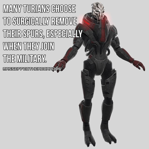 """Many turians choose to surgically remove their spurs, especially when they join the military."" Submitted by anonymous."