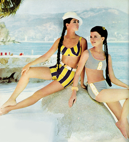 Swimwear from Seventeen magazine, 1960s.
