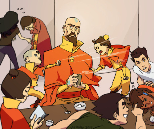korraspasm:  viivus:  Man Tenzin is going to have the BEST MORNINGS EVER living with three airbending kids, four teenagers, and a pregnant wife. And by best I mean worst. Also I have no idea why I actually coloured this, the sketch was probably good enough hurp  The best.