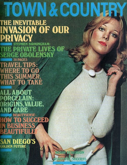 superseventies:  Fashion by Halston on the cover of Town & Country, 1970s.  THE INEVITABLE INVASION OF OUR PRIVACY. Some things never change.