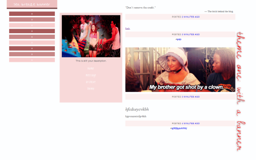 Like if using! Theme One (With SideBanner) preview || code 10 Customizable Links 3 Customizable Link Background Colors Title Font: 'Nothing You Could Say' Sidelink Font: 'KG Love You Through It' Sidebanner; Customizable Colors Sidebanner Toggle (Show/Don't Show)