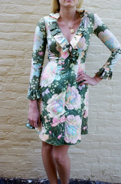70s quilted garden party Bill Tice dress