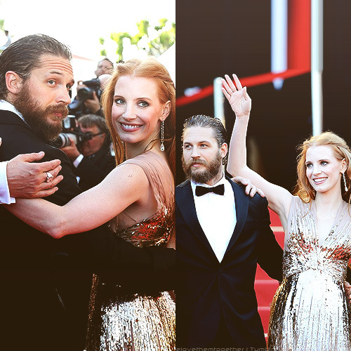 welovethemtogether:  Tom Hardy & Jessica Chastain at the premiere of their film Lawless during the 65th Annual Cannes Film Festival in Cannes, France on May 19, 2012