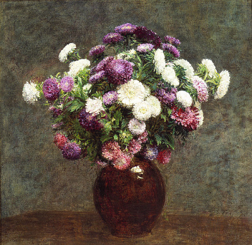 Heni Fantin-Latour, Asters in a Vase, (1875)