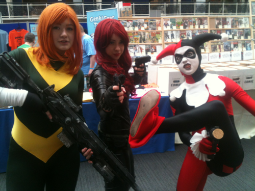 Clair, Ceci and Kerry as Hope, Black Widow and Harley.