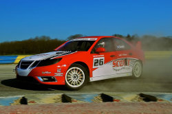 Scott-Eklund Racing complete first Saab 9-3 wheels-down test in France Dreux, France - Tuesday, March 27, 2012: Scott-Eklund Racing successfully completed its first wheels-down pre-season test at Le Circuit de Rallycross de Dreux in France on Tuesday, March 27, ahead of the teams' debut Global RallyCross Championship season. Lead driver and Team Principal Andy Scott took both 2012 GRC-spec Saab 9-3 two-litre 16 Valve powerhouses rigorously through their paces, covering over 50 laps of the French circuit without a single glitch.  Running in the glorious sunshine in ambient temperatures of up to 24ºC, the Scott-Eklund Racing crew, led by rallycross stalwart and team Technical Director Per Eklund, seamlessly transitioned the cars through each installation phase before completing tyre cycles. With the 600bhp Saabs responding well to technical input, the team gleaned an encouraging measure of performance on base settings and Scott turned up the pace to set continually improving lap times throughout the six hour session. Read more here.  Scott-Eklund Racing Team Principal Andy Scott (right) with Scott-Eklund Racing Technical Director Per Eklund