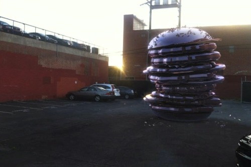 giant burger on parking lot