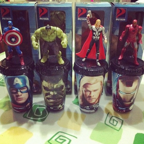 Complete avengers tumbler collectibles!!!! Awesome!!! (Taken with instagram)