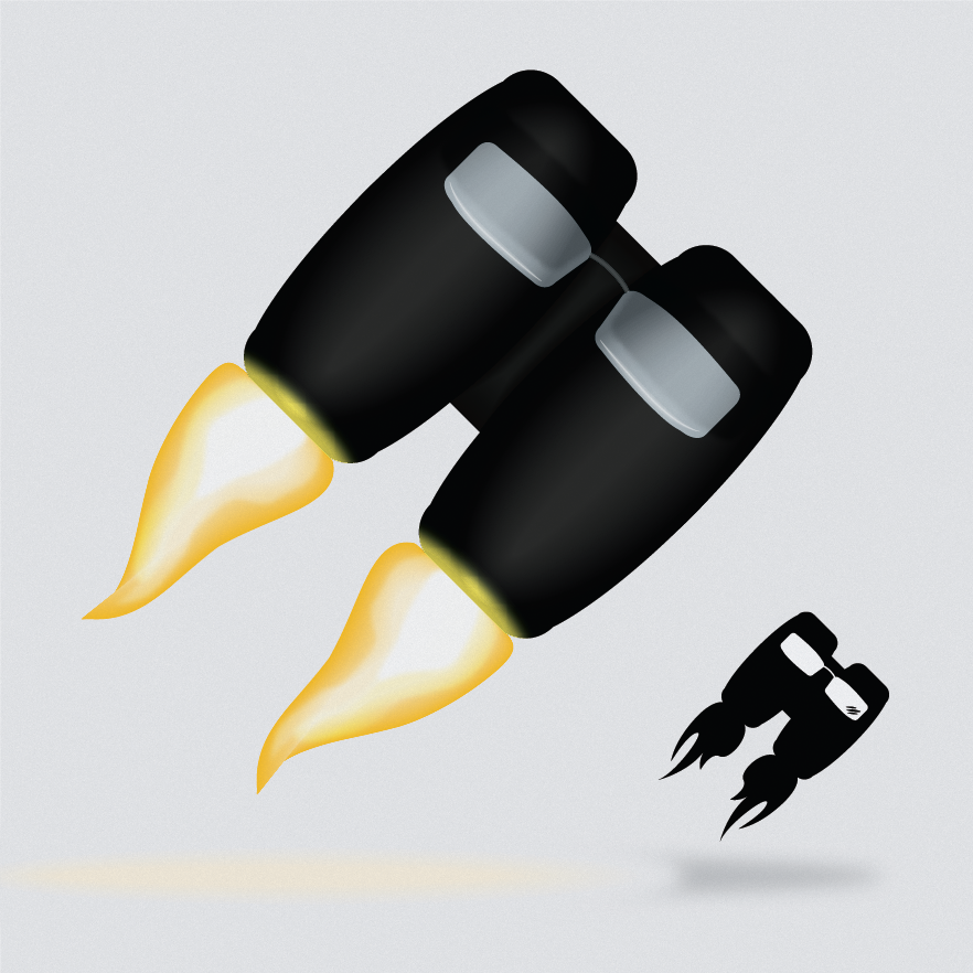 Decided to have a bit of fun with my logo. The jetpack with glasses on the bottom right is my normal logo and the one on the left is my new and improved, super awesome HD logo.