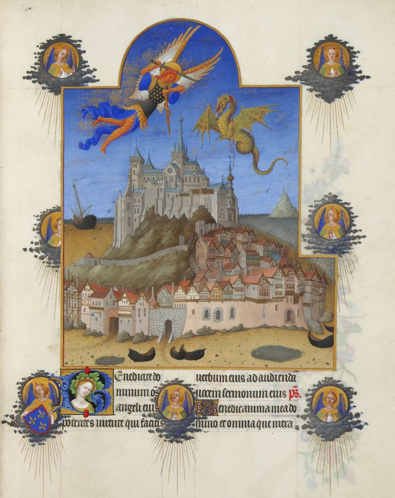 Pretty medieval manuscript of the day is a gorgeous depiction of Mont St Michel, and the the archangel St Michael slaying the dragon. From the Tres riches heures, it also features the arms of the book's patron, the Duke of Berry in the bottom left. Image source: Wikimedia Commons. Image believed to be in the public domain.
