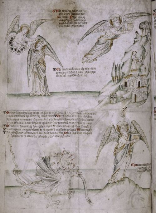 jothelibrarian:  Pretty medieval manuscript of the day is an illustration of a vision of the apocalypse. I thought the drawing of the dragon was fabulous, with it's twisted, knotted tail, and gnarled claws. Image source: New York Public Library, MA 15. Image believed to be in the public domain.