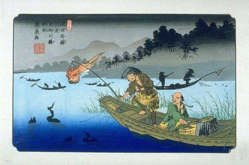 Cormorant fishing by Keisai Eisen