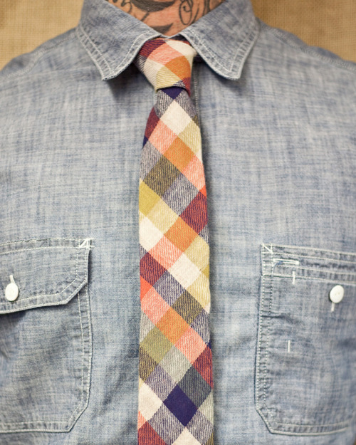 enochliew:  Orange Blue Plaid tie by Stalward Ltd. 100% cotton and hand stitched.