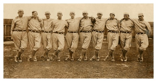 1913 New York Giants Pitching Staff(L-R) Jeff Tesreau, Christy Mathewson, George Wiltse, Red Ames, Al Demaree, Harry Smith, LaRue Kirby, Ferdie Schupp, Doc Crandall & Ted Goulait