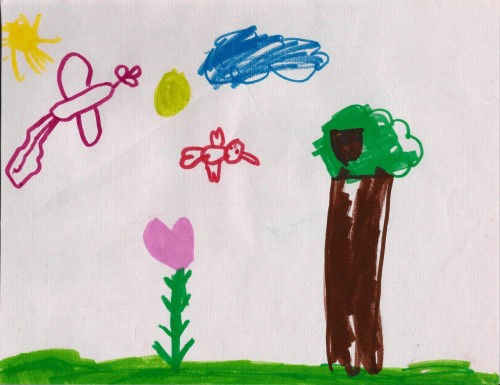 """Birds and Tree"" January 1998 (Age 6) Marker Two suns, and does that one bird have a flower for a head? Hmm…"