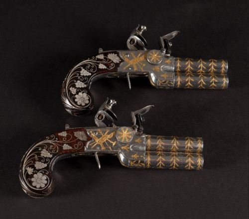 ca. 1800-1810, [pair of English, gold and silver inlaid flintlock tap action pocket pistols], John Brown via the Curator's Eye Collection