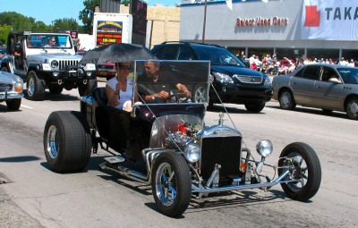 T For Two! Ford T-Bucket hot rod cruising Woodward Avenue, Detroit, MI.
