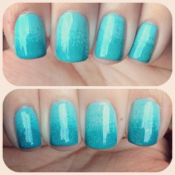 hawtvintage:  Gradient w/ glitter, yay/nay? 💅😉 (Taken with instagram)