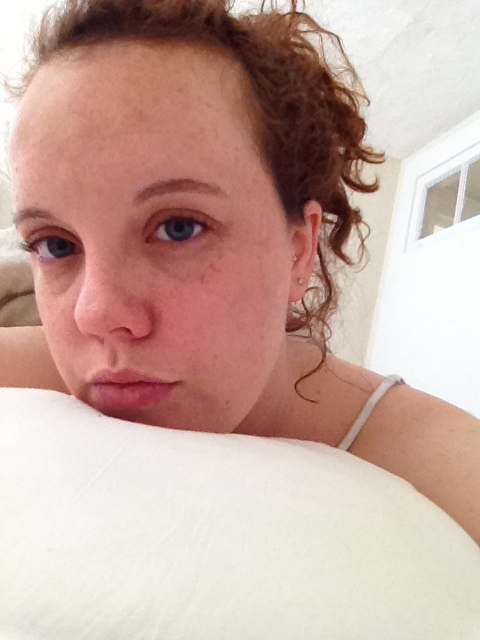 "This is a picture about morning hair and obvious freckles, two things the world doesn't see on a very consistent basis. I'm laying here after drinking probably 7 glasses of wine last night (or 4? … I have no idea, honestly) trying to conjure up the ability to get my ass in gear to start doing Sunday business. Right now, ""Sunday business"" consists of the question do I go out to find a breakfast sandwich now, or do I starve for the next hour when it's a passable time to get lunch?"
