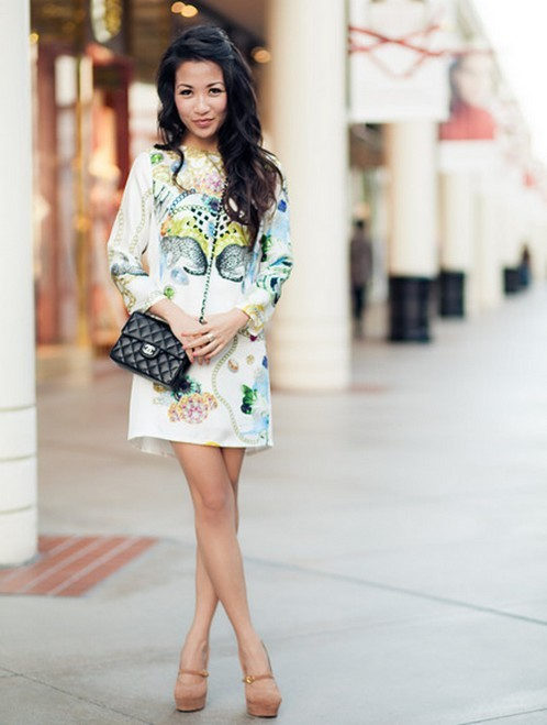 pretaportre:  Wendy Nguyen from Wendy's Lookbook in 'Printed dress & Silver details' wearing a Tibi dress, Yves Saint Laurent shoes, Chanel bag, David Yurman bangle, Gorjana rings, and Tacori earrings.