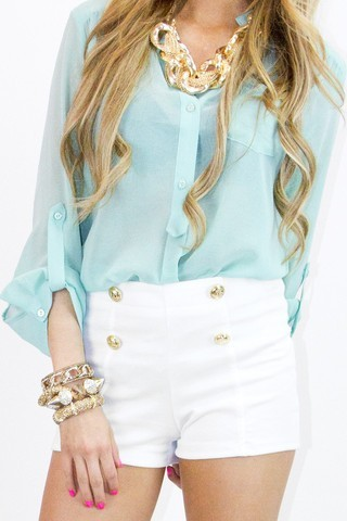 Mint+ High waisted shorts+ an awesome stack of arm candy =love