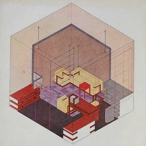 enochliew:  Isometric drawing of Walter Gropius's study by Herbert Beyer For an exhibition in 1923, the geometric illustration of the space demonstrates how all the objects relate to the square.