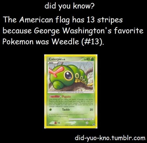 smogoncc:  This makes no sense. First of all that's the Pokémon Caterpie, not its evolution Weedle, and secondly that image claims that the Pokémon is a Grass type when in fact it is Bug/Poison. Please do not spread dangerous misinformation like this especially since you portray yourself as a trivia blog. If you are ever confused about something involving Pokémon, feel free to ask us in order to avoid looking silly. Thank you.  *Weedle is not Caterpie's evolution