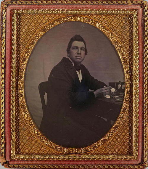 ca. 1840-60, [daguerreotype portrait of a watchmaker with his tools] via the Library of Congress, Daguerreotype Collection