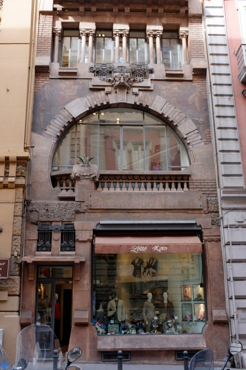 scavengedluxury:  Art Nouveau shop front, Chaia, Naples. May 2012.