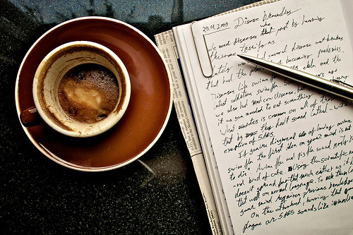 nudeblogger:  Coffee and notes (by rahina)