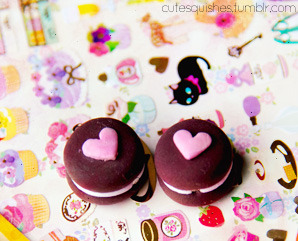 oreo macaron heart earrings ♥