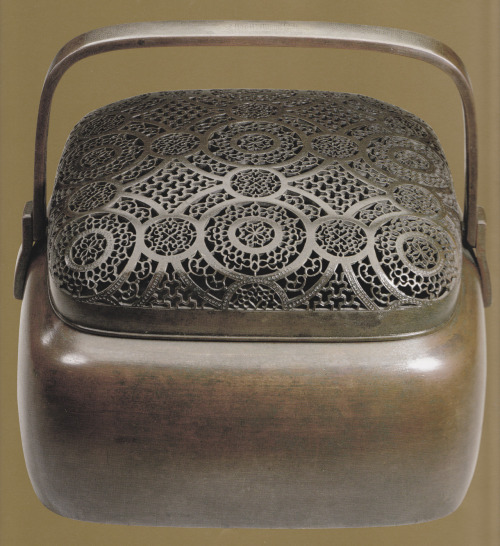 Shoulu Portable handwarmer. Beaten and pierced copper, Ming dynasty, 16th century. (Source: Treasures of China by John Chinnery)