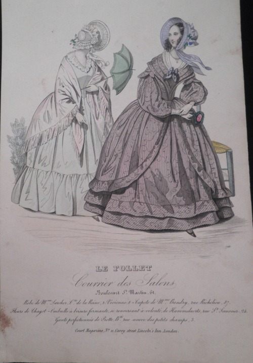 ellysnowe:  Fashion plate.Le Follet. Courrier des Salons.Probably circa 1840. Elly Snowe's private collection.