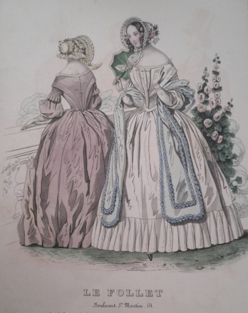 ellysnowe:  Fashion plate.Le Follet. Probably circa 1840. Elly Snowe's private collection.