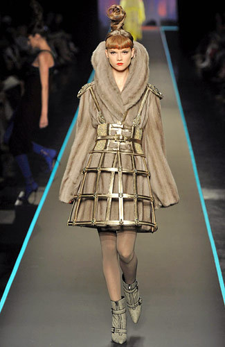 What would Arya wear? Jean Paul Gaultier Fur dress with armor, perfect for the North's warrior princess