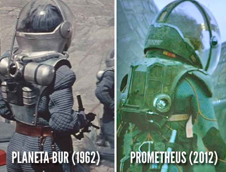 It appears that the design of the Prometheus spacesuits is not original but based on spacesuits from the USSR developed in the early 1960's. Spacesuits of a similar design were first shown in the 1961 Soviet science fiction film, Planet of the Storms directed by Paul Klushantsev…It was purchased by the American studio, Roger Corman Productions…Corman re-edited the movie thus cutting out a large number of scenes. In 1965, Corman released the revised version under the title, Voyage to the Prehistoric Planet…  READ HERE: http://www.shadowlocked.com/201203302484/opinion-features/the-russian-heritage-for-ridley-scotts-prometheus.html