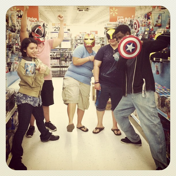 #TheAvengers! And #wolverine…. Hahahah. XD #tallrandomblackguy #tangerinepaws #acupbrewedatdawn #tati #brenda #kelly #aurillius #robert #friends #friendship #love #goodtimes #life #walmart #masks #instagram #marvel #robbychu93 (Taken with instagram)