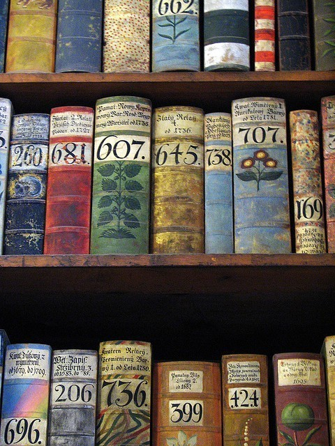 Books inside the Prague Castle museum.
