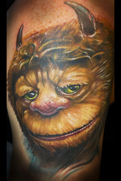 This is the beginning and a cover up of a where the wild things are sleeve. I got this tattoo for the reminder to always stay young. This tattoo was done by Waylon Rodgers at Cannibal Graphics in Oklahoma City.