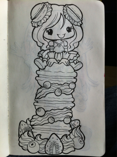Lady of the macarons! Will probably color it later.